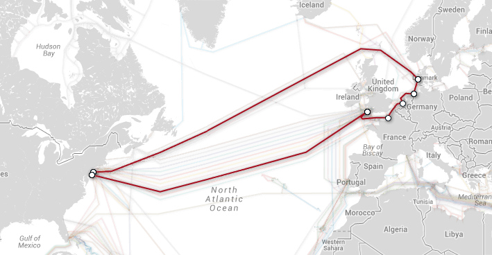 TAT-14 Telia Transatlantic Cable Map