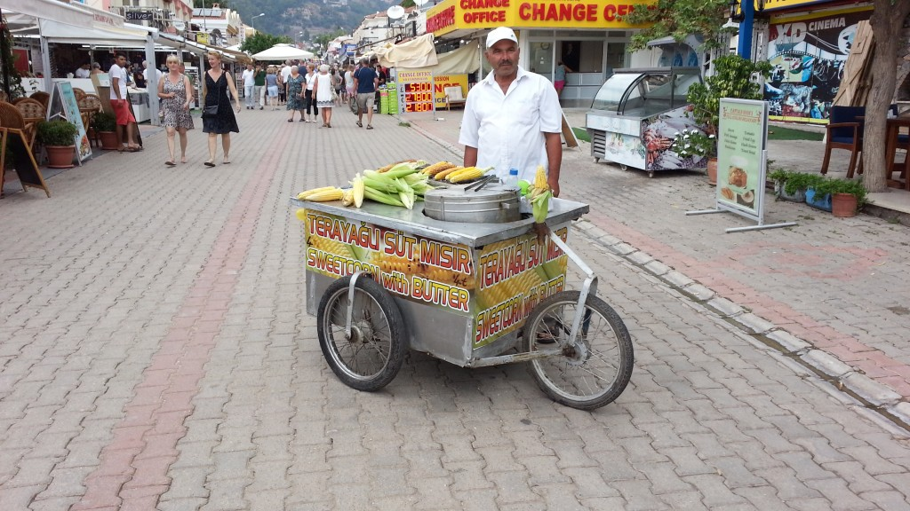 Grilled sweetcorn stand, Oludeniz, Turkey