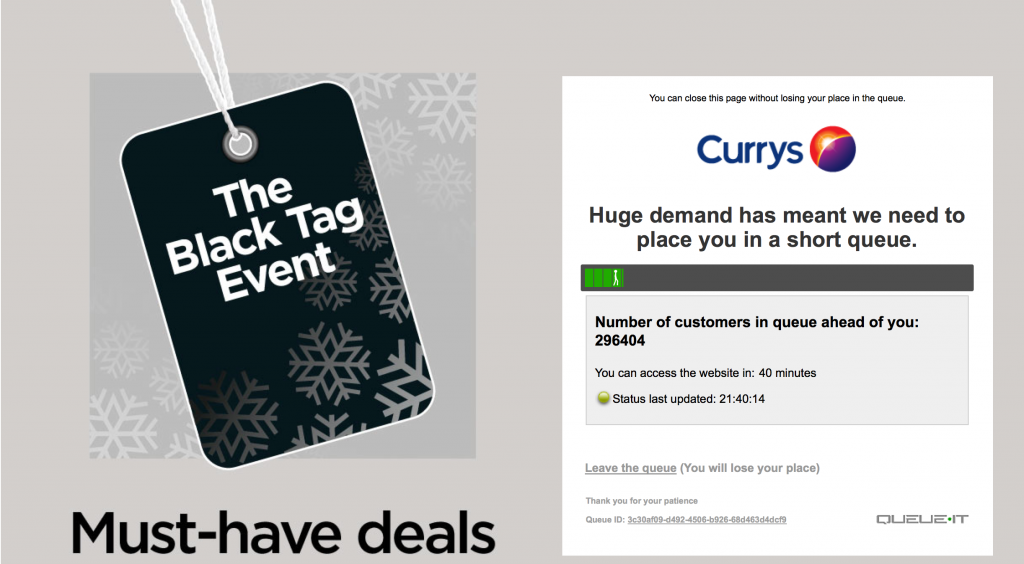 Currys Website - Black Friday Deals page queue