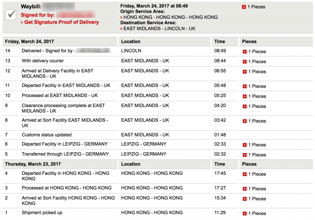 DHL tracking - Hong Kong to UK