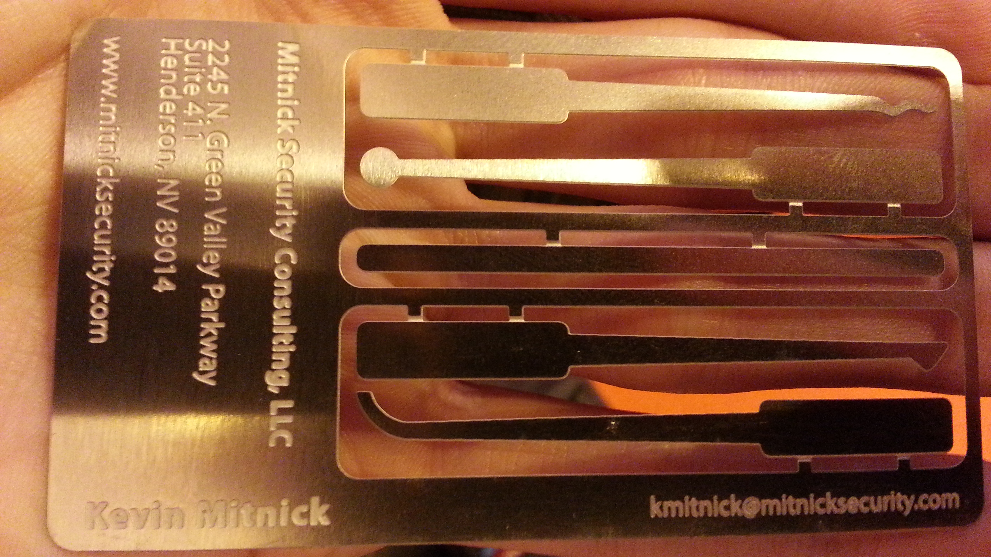 Kevin Mitnick metal business card IP EXPO 2013 London