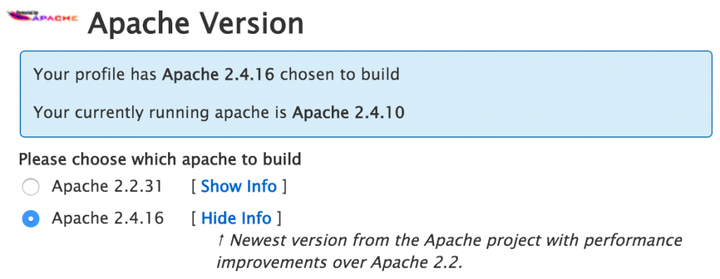 EasyApache version selector