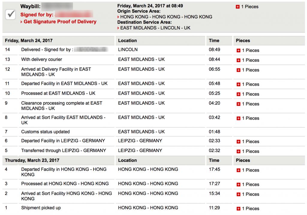 DHL tracking - Hong Kong to UK